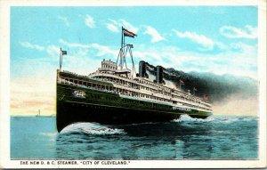 D & C Navigation Steamer City of Cleveland Detroit Michigan 1924 Ship Postcard