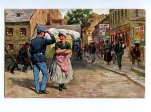 140971 Austria Soldier w/ Belle STREET by FEIERTAG Vintage PC