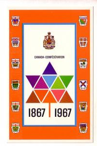 1867-1967 Canada Confederation, Provincial Crests, Prime Ministers List on Back