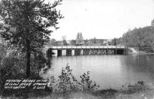 Spooner Wisconsin~Highway Bridge on Yellow River~Houses Along Shore~1947 RPPC