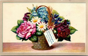 Solon Palmer Soap Basket of Flowers Art Victorian Advertising Trade Card NY