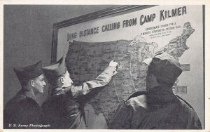 Long Distance Map, Camp Kilmer, U.S. Army, Postcard, Army Photo, Used in 1953