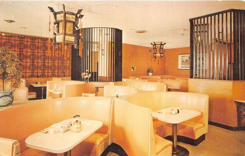 Salem Oregon~China City Restaurant-Dining Room~Tea Pot on Table~Chandeliers~'60s