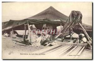 Old Postcard Algeria Manufacture of carpets in Douar
