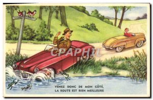 Postcard Old Humor Come to my side Automotive Frog
