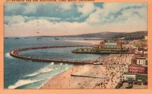 Vintage Postcard 1942 Rainbow Pier & Auditorium Long Beach CA California