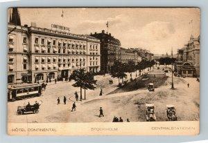 Stockholm Sweden Hotel Continental Central Stationen Vintage Postcard