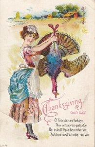 THANKSGIVING Poem, Woman Holding A Dead Turkey, PU-1915