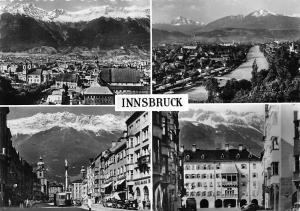 Innsbruck Kirche Church General view River Hotel Pension Tram Cars Auto