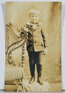RPPC Young Boy Edwardian Era Big Bow Hagerstown Md Family Est Postcard K2
