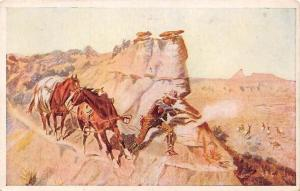 Native American Cowboy, Rifle, Horses, Chass. M. Russell
