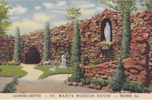 Illinois Techny Lourdes Grotto St Mary's Mission House Curteich
