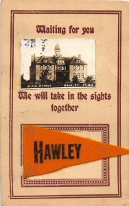 G34/ Hawley Minnesota RPPC Postcard c1910 Felt Pennant High School 17