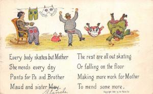 Everybody Roller Skates But Mother~She Mends Torn Clothes~Artist~1907 Comic PC