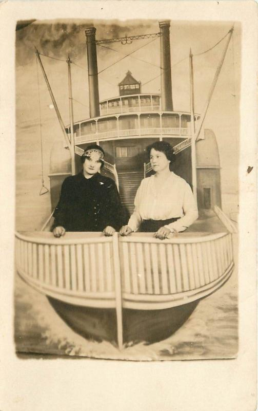 Studio Shot Real Photo Postcard Of Two Women In A Steamship