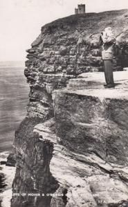 Man With Binoculars On Mohir Cliffs O'Briens Castle Scottish Real Photo Postcard