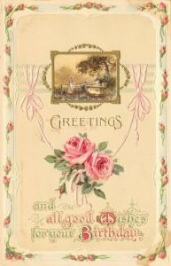 Calligraphy~Delicate Moss Rose Border~Pink Ribbon~Gold Lady Vignette~Dresden