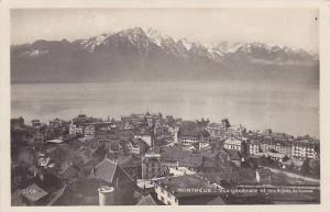 RP; MONTREUX, Vue generale et les Alpes de Savoie, Vaud, Switzerland, 20-30s
