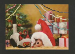 POSTCARD 3D LENTICULAR DIMENSION 60s CHRISTMAS TOYS TOY DOG CAT CATS DOGS  Z1