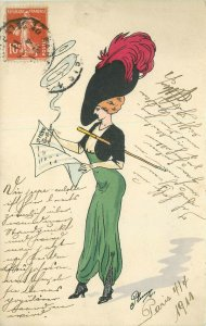 1911 Woman Big Hat Fashion Cigarette Le Femme Newspaper Artist Plum Postcard