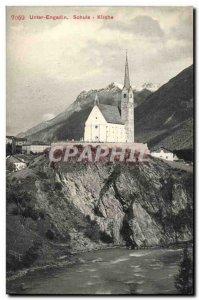 Old Postcard Switzerland Unter Engadin Schuls Kirche