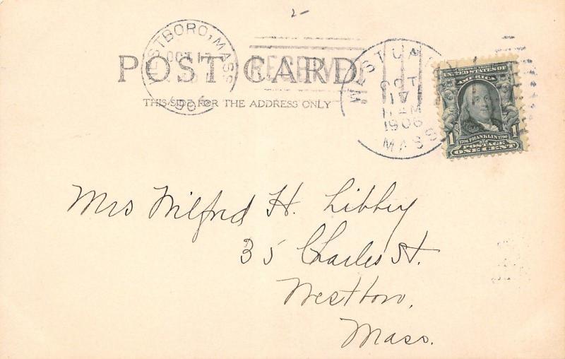 West Upton MA Pratt or Mill Pond~RPPC 1906 To Milford Libbey, Westboro