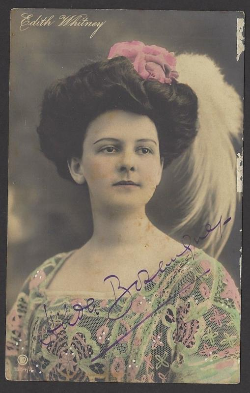 Broadway Belle Epoque Stage Beauty Edith Whitney 1920s color postcard