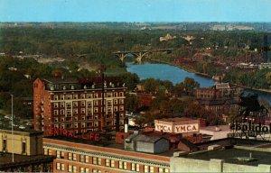 Iowa Des Moines Aerial Veiw Des Moines River With Brown Hotel & Y M C A Building