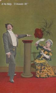 Flowerpot A Drama Play Dramatic Hit Drunk Violence Antique Comic Postcard
