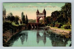 Hartford CT-Connecticut Bushnell Park Memorial Arch Mirror Pond Vintage Postcard