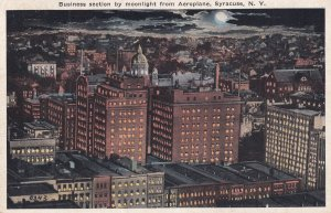 SYRACUSE, New York, PU-1921; Business section by moonlight from Aeroplane
