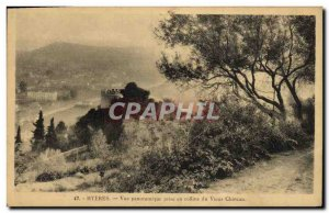 Old Postcard Hyeres panoramic view taking the old castle hill