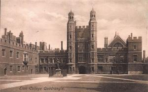 Eton College Quadrangle, Windsor, England, early sepia postcard, unused