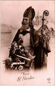PC CPA SAINT NICHOLAS WITH STAFF AND TOYS, Vintage Postcard (b17310)