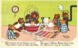 Dressed Bears, Time for the Daily Bath (1952) Artist Signed Langeler
