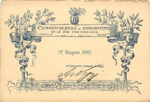 Italian army commemorative postcard 1910 regiment 8 genuine colonel signature