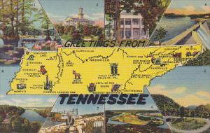 Greetings From Tennessee With Map Curteich
