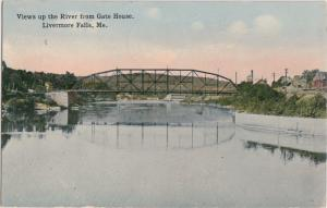Maine Me Postcard 1914 LIVERMORE FALLS From GATE HOUSE Bridge Homes