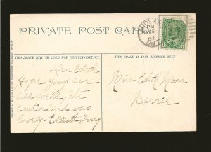 Postmark 1908 Midland Ont Parliament Buildings & Post Office Ottawa Postcard