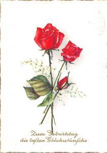 Happy Birthday Red Roses Flowers Blumen Geburtstag