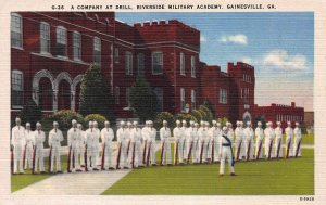 A Company At Drill, Riverside Military Academy, Gainesville, GA, Unused Postcard