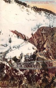 Placer Canyon Alaska~Skiing Above Suspension Bridge and Tunnel~1909 Postcard