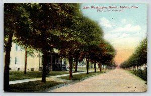 Lisbon Ohio~East Washington Street Homes~Dirt Road~Photo by Gorsuch~1908 PC