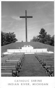 Indian River Michigan view of Catholic Shrine large cross real photo pc ZE686256