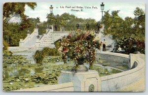 Chicago Illinois~Union Park~Lily Pond & Bridge~Big Overflowing Flower Pots~1911