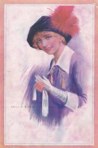 Gloves Fashion Cecil Quinell Old Postcard