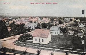 Milaca Minnesota~Birdseye View~Homes~School~Church~Water Tower~1909 Postcard