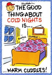 Postcard Comic Joke Fun, The Good Thing About Cold Nights is..Warm Cuddles #493