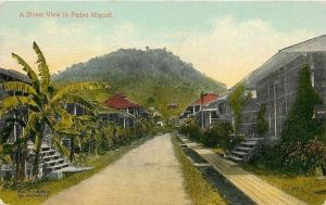 Pedro Miguel Portugal~Dainty Cottages~Wooden Sidewalks on One Side~1910 Postcard