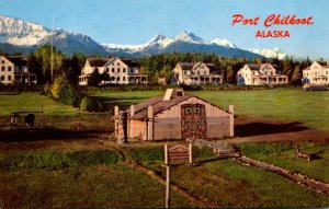 Alaska Port Chilkoot Parade Ground Showing Newly Erected Totem Village